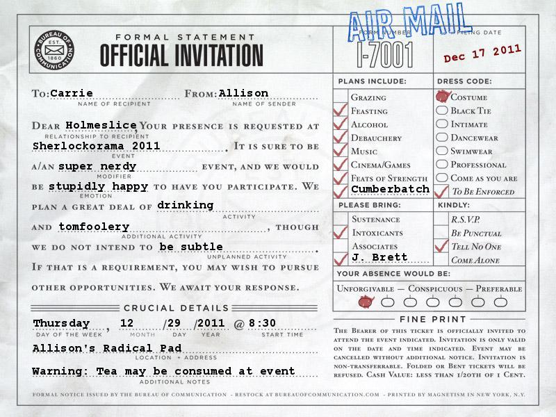 Sherlockorama 2011 Invite